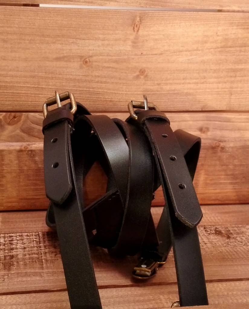 English Fashion Real Leather Suspenders Black