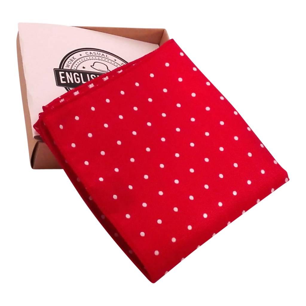 English Fashion Red Polkadot Pocketsquare