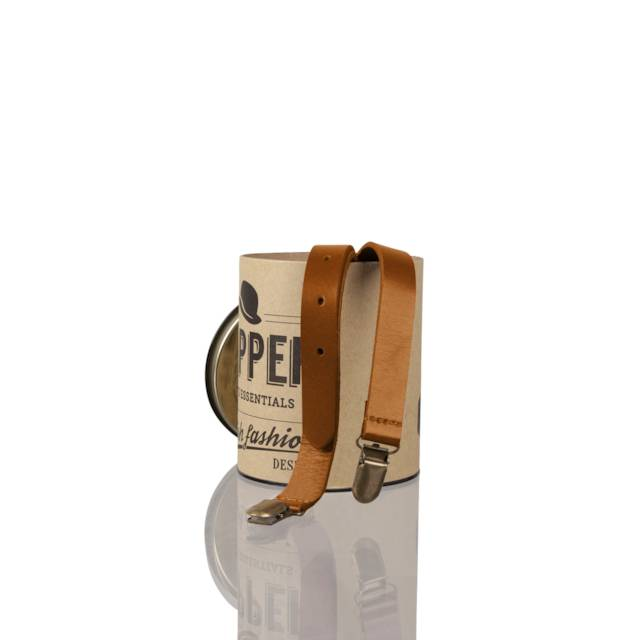 English Fashion Real Leather Suspenders Yellow Brown