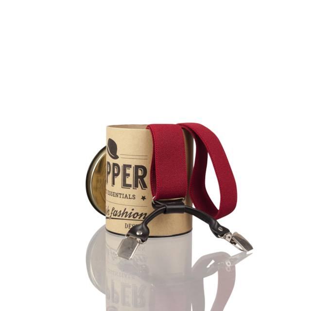 English Fashion Bretels Rood met Leer 6-clips