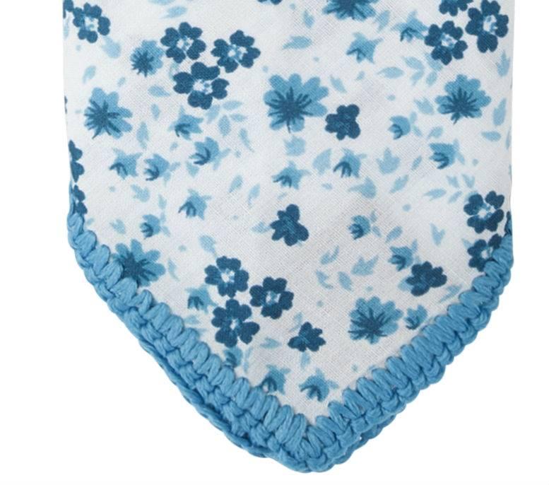 English Fashion Pochette Katoen blauw bloem patroon