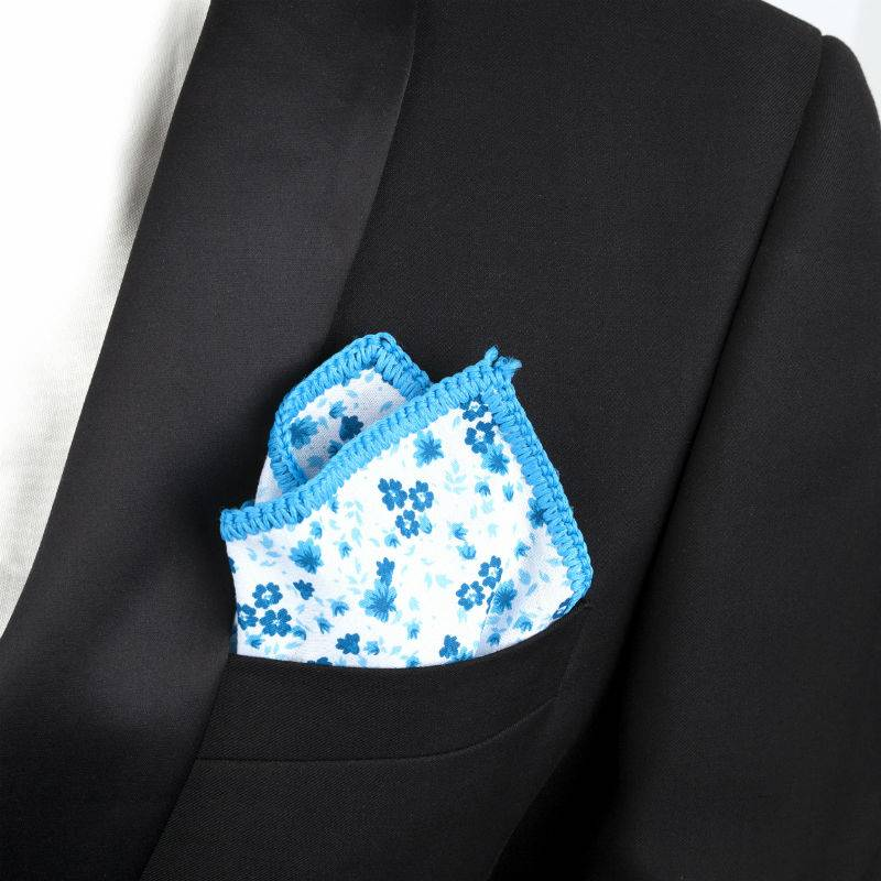 English Fashion Cotton Pocket Squares - Floral blue
