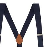 English Fashion Navy blauwe Bretellen met knopen