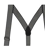 English Fashion Black Braces Pinstriped