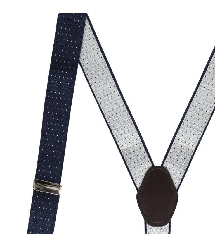 English Fashion Blauwe Bretels met Polkadot en 6 clipjes