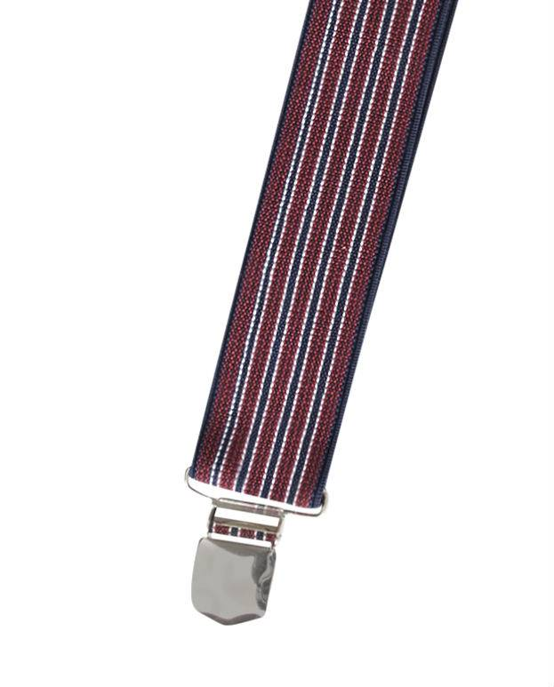 English Fashion Elastic Suspenders Striped 6-clips black wit white