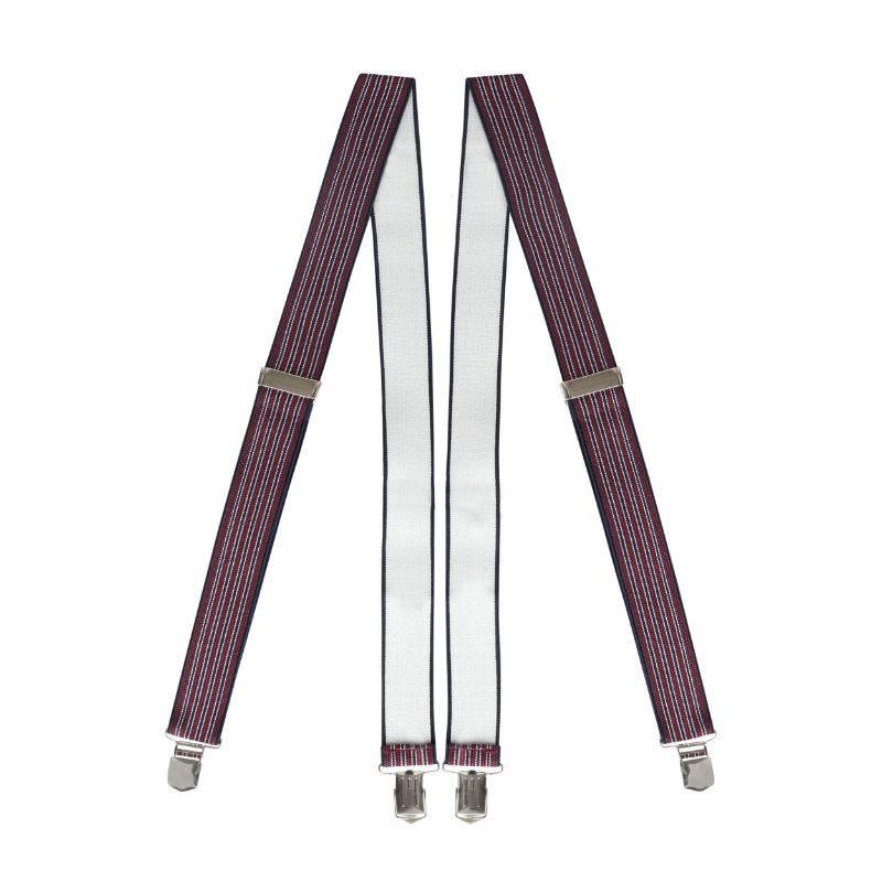 English Fashion Elastic Suspenders Striped 6-clips black wit white