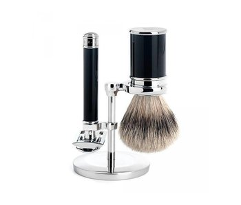 Muhle Traditional scheerset met safety razor in zwart edelhars