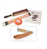 Compleet beginnerspakket open scheermes - olijfhout roestvrij staal