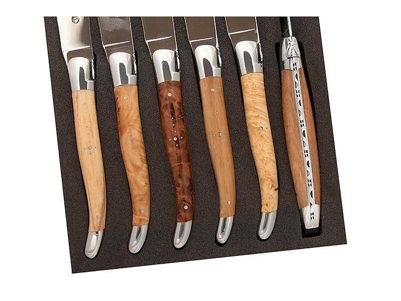 Laguiole en Aubrac doos met 6 steakmessen in Europese houtsoorten
