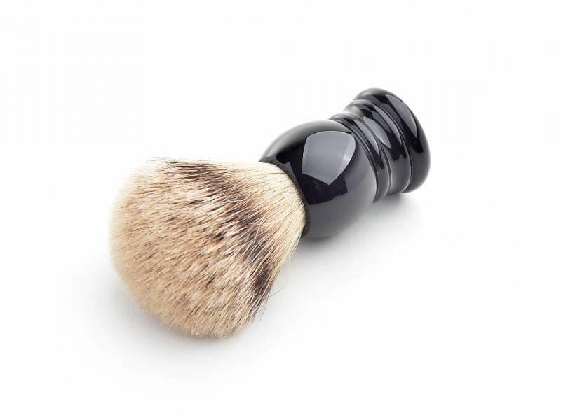 Hans Baier Silvertip scheerkwast - zwart klassiek heft - M