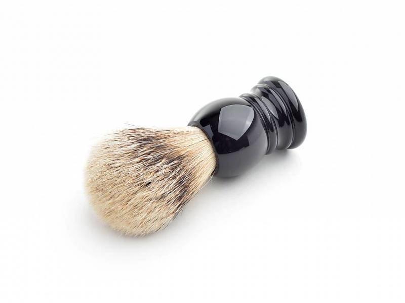 Hans Baier Silvertip scheerkwast - zwart klassiek heft - S