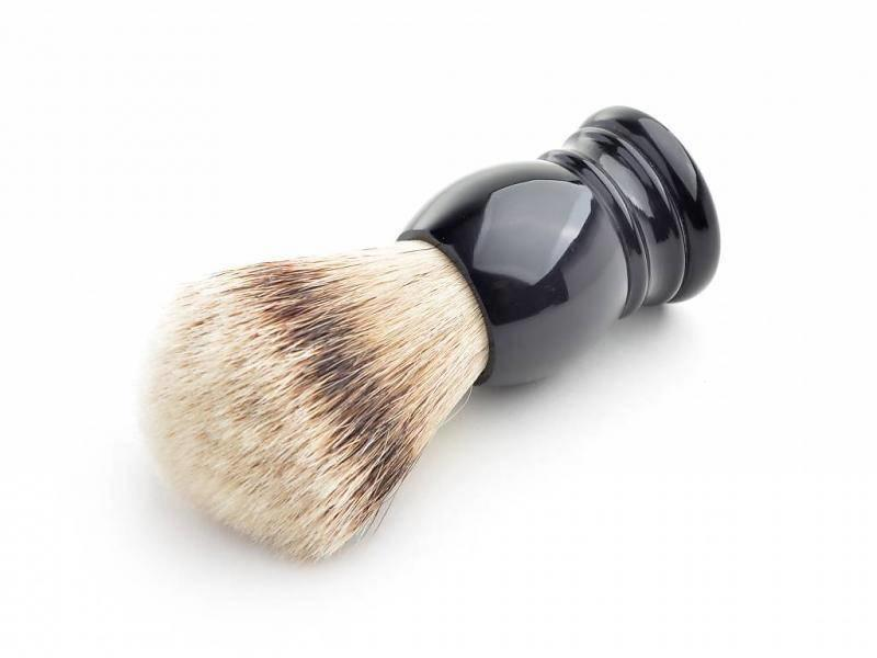 Hans Baier Silvertip scheerkwast - zwart klassiek heft - XL