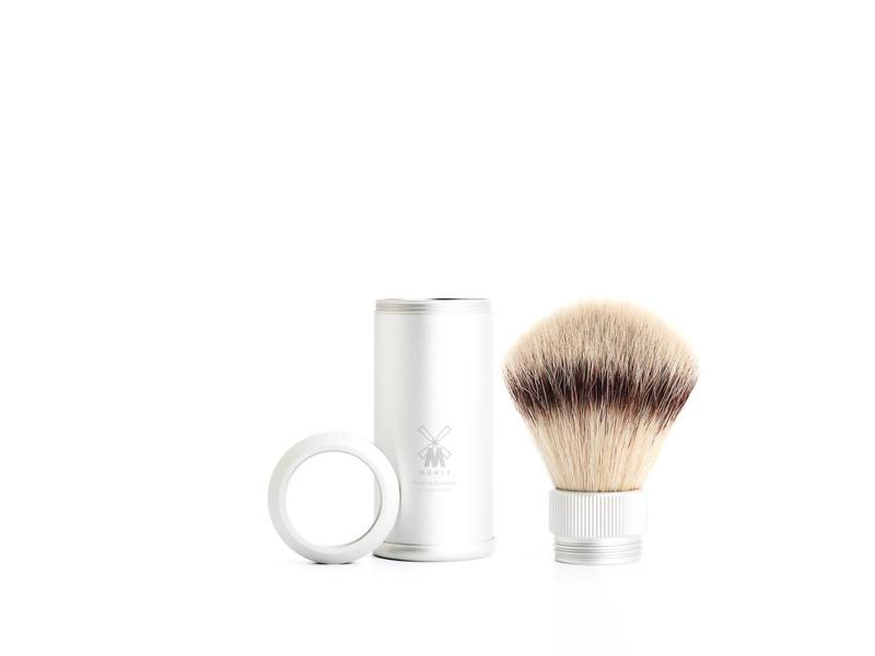 Muhle silvertip fibre reisscheerkwast - grijs aluminium