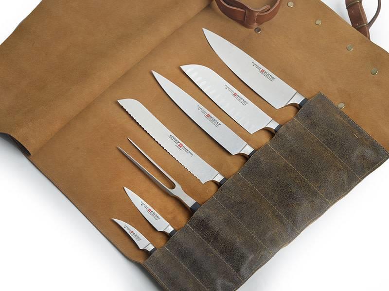 Crafted lederen messentas voor 7 messen met draagriem