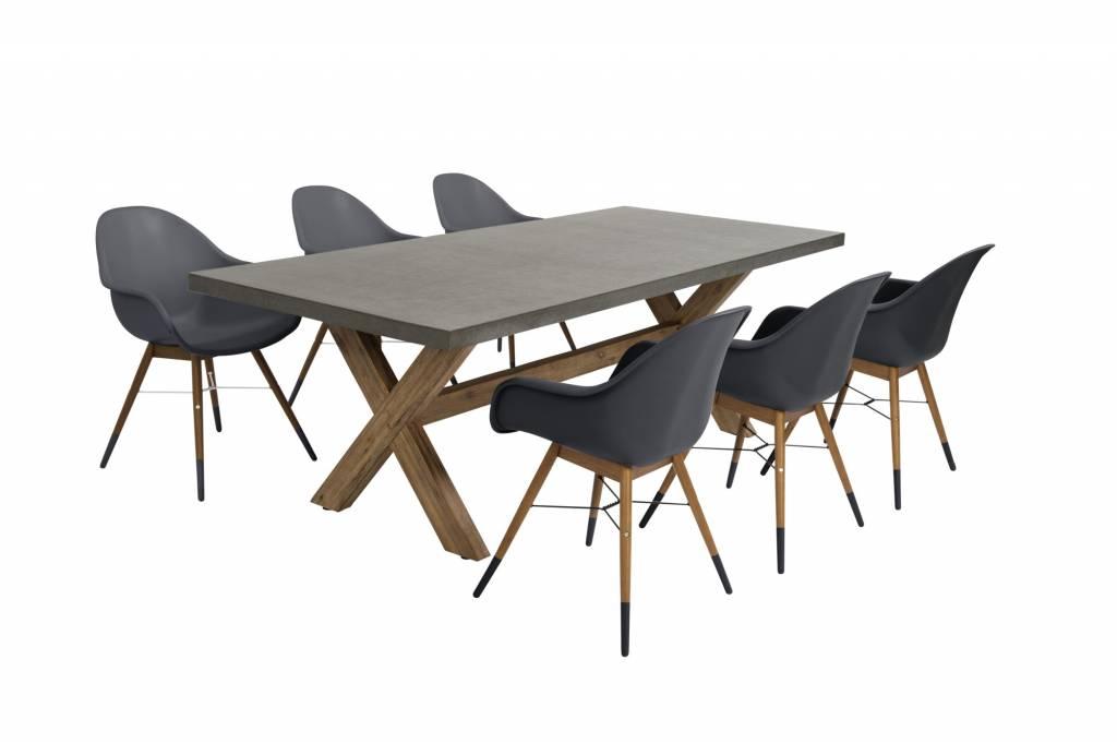 Chamonix - Ramatuelle 7-delige  tuinset   Resin - Eucalyptus Acacia - cement fibre