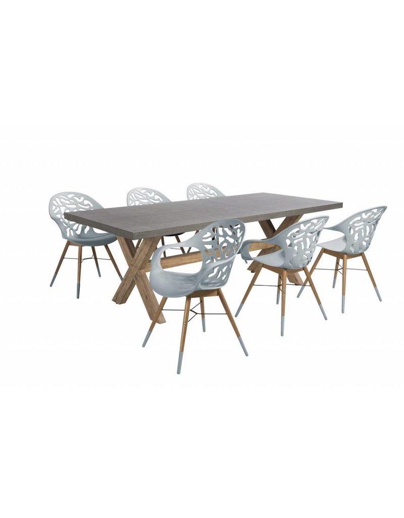 Coral Reef - Ramatuelle 7-delige diningset  resin - eucalyptus - Cement fibre - acacia