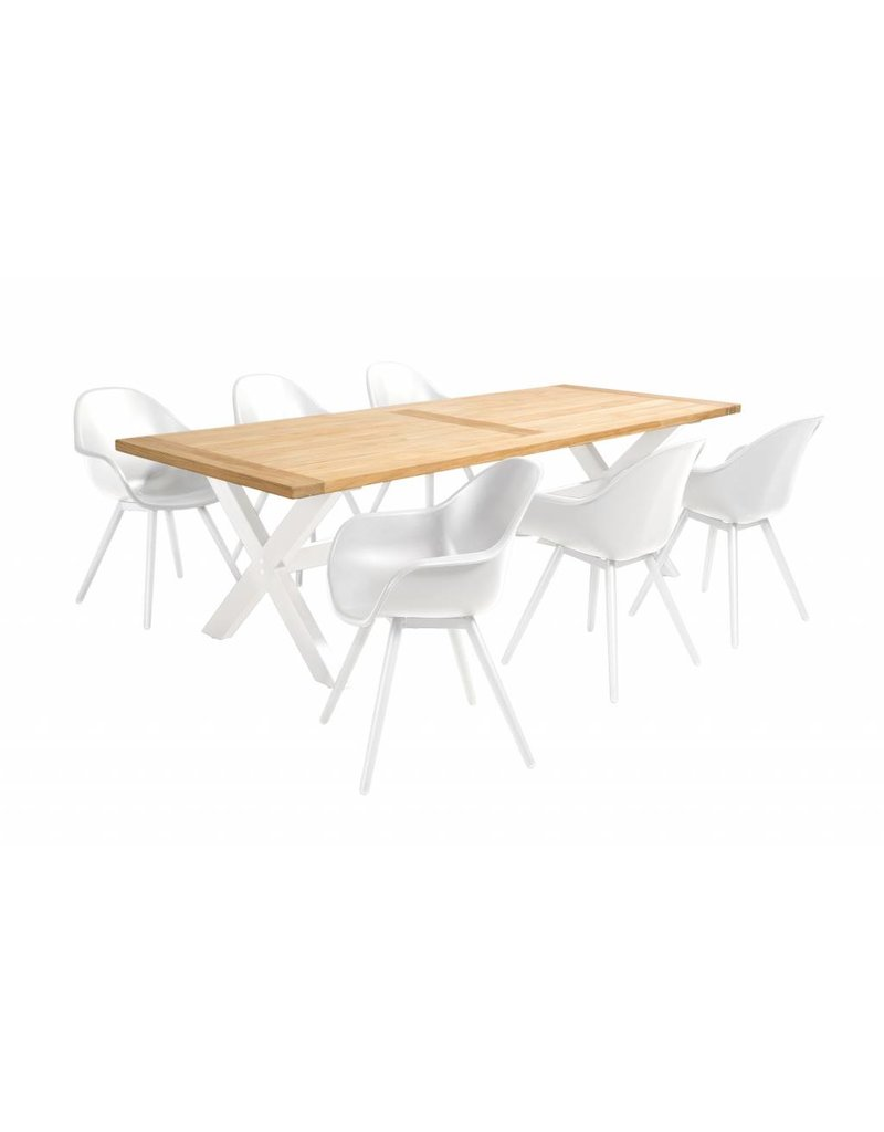 Geneva - Moonlight 7-delige diningset  resin - alu/ teak- alu