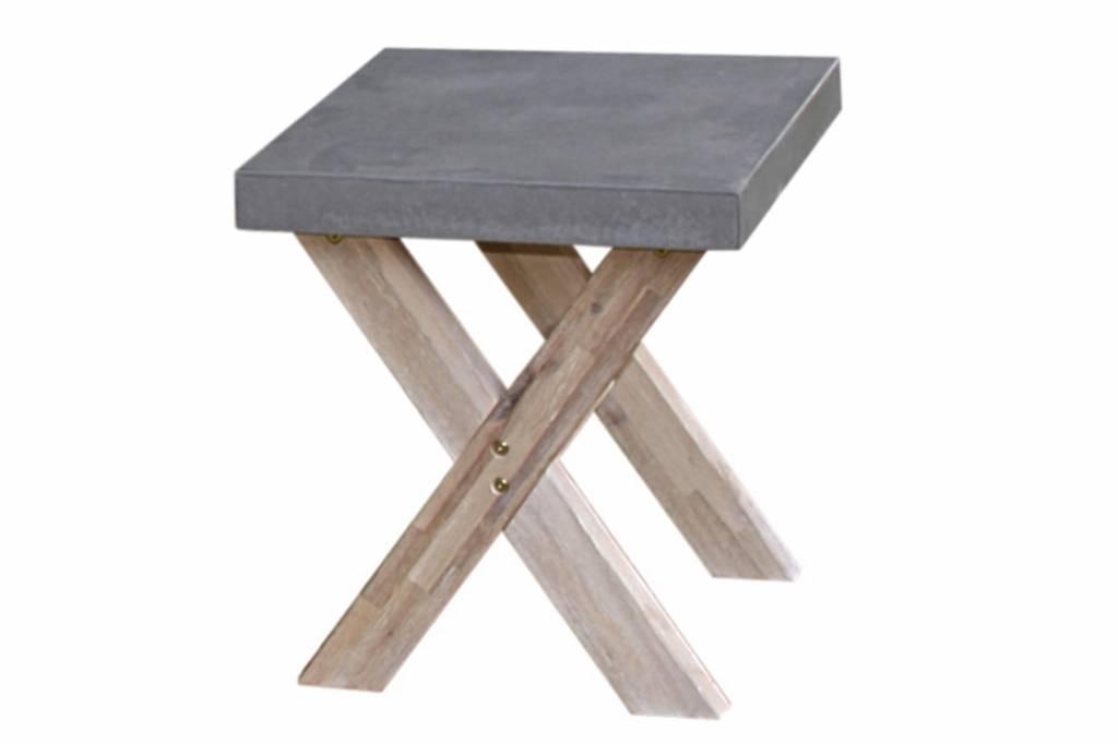 Ramatuelle footstool 50x40cm cement fibre-acacia