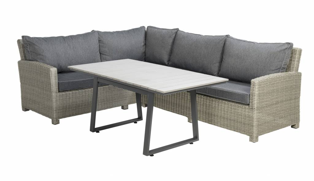 Birdwood 3-delige lounge-diningset -wicker