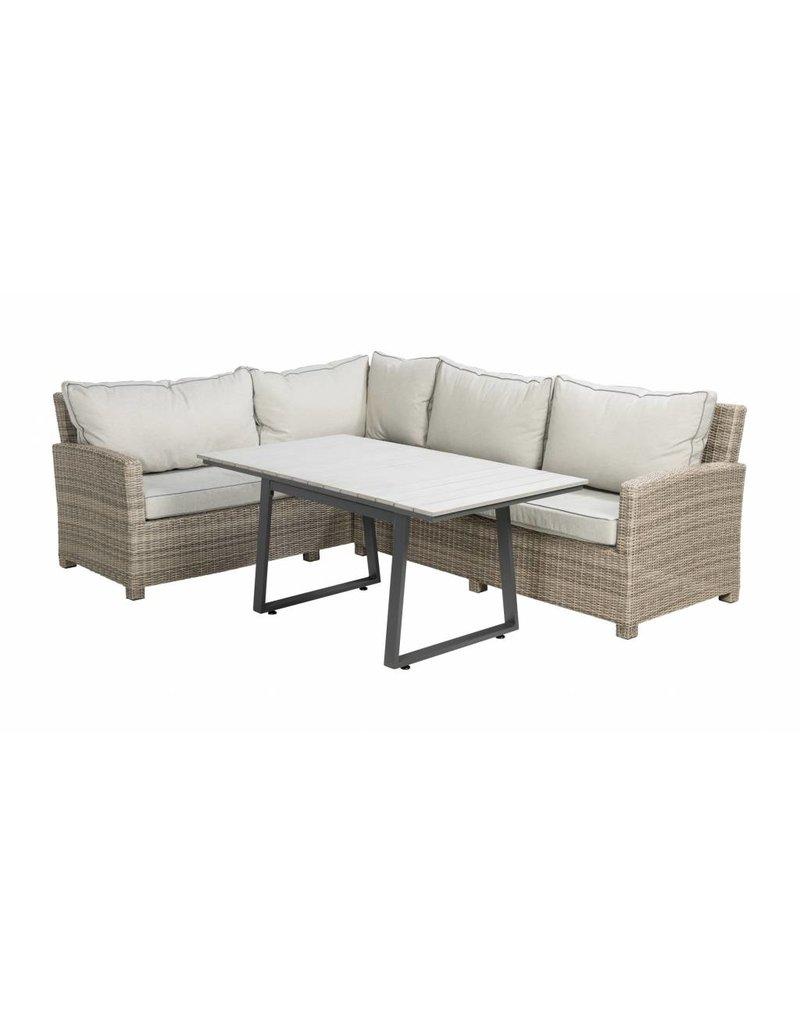 Birdwood 3-delige lounge-diningset -wicker