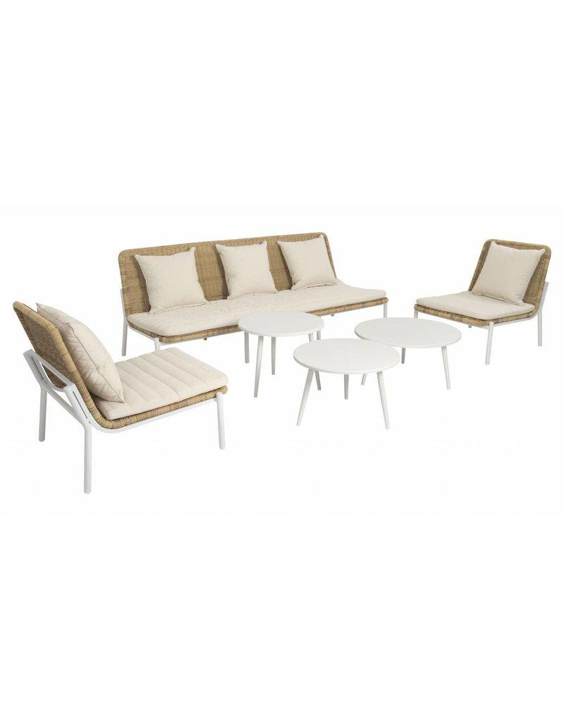 Amigo 6-delige loungeset vlechtwerk - aluminium