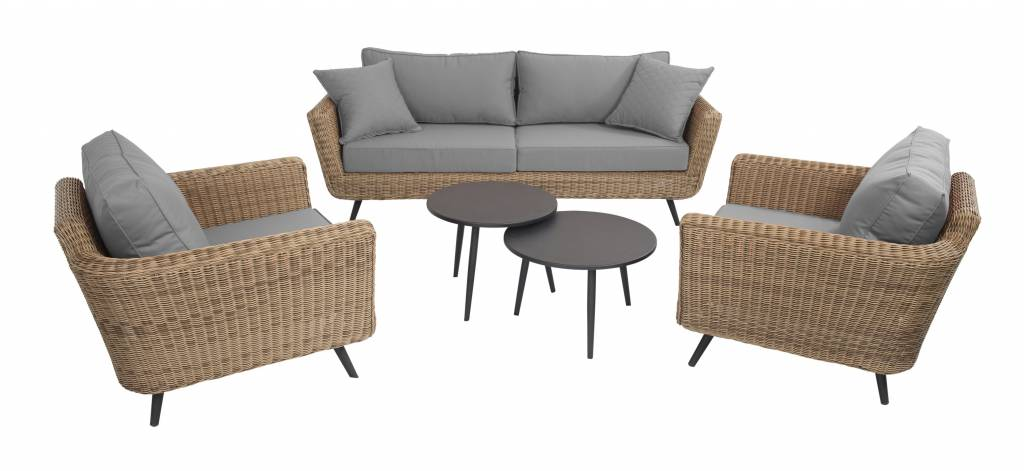Jaribu 5-delige loungeset vlechtwerk aluminium
