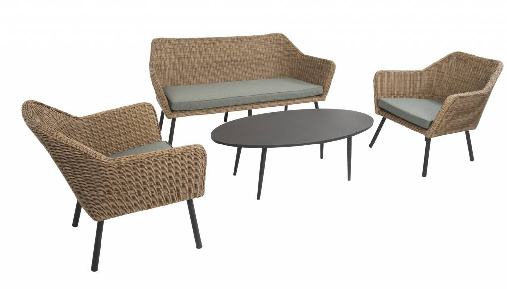 Sungai 4-delige loungeset safari  wicker aluminium