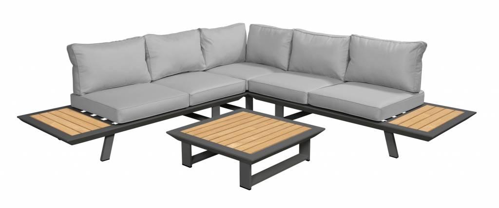 Bel-Ami 4-delige loungeset aluminium-teak | afmeting 266 x 266 cm