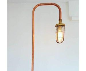 Industriele koperen vloerlamp met oude scheepslamp rense lamps