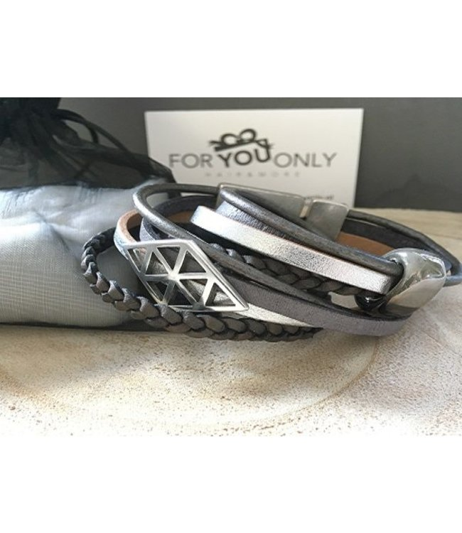 For-You-Only custom made Wikkelarmband  Grijs-Zilver