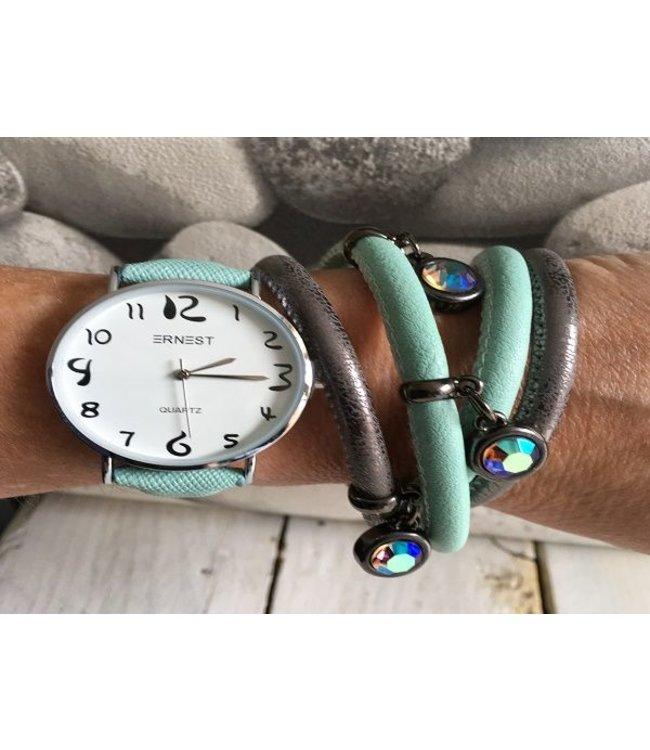 For-You-Only custom made Horlogeset mint & armband mint/grey