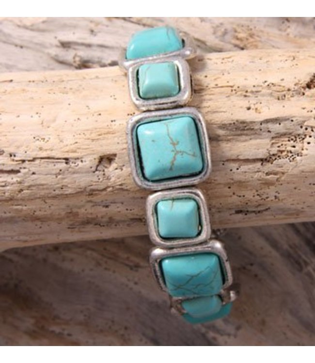 For-You-Only custom made Bracelet TQ squared Turquoise