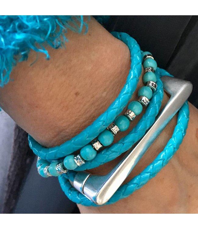 for-YOU-only Handmade leren wikkel armband met DQ metalen magneetsluiting