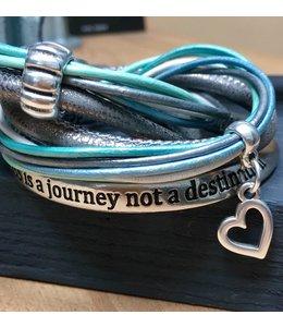For-You-Only custom made Wikkelset Grijs-Zilver met tekstarmband