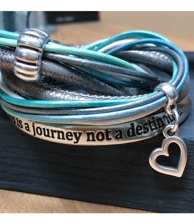 For-You-Only custom made Wikkelset  Grijs-Zilver-mint-bleu met tekstarmband