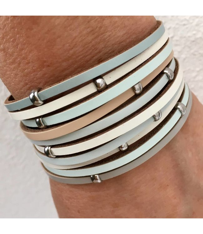 For-You-Only custom made Armband summer light-mint met magneetsluiting