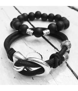 For-You-Only custom made Men's Bracelet Vintage Zwart Duo