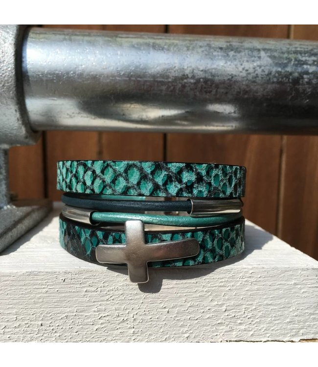 For-You-Only custom made Armband Blauw/Groen met magneetsluiting