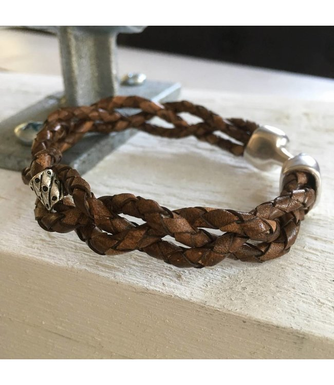 For-You-Only custom made Handmade bruin leren  armband