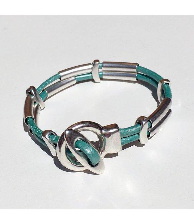 for-YOU-only Armband van leer met DQ metaal