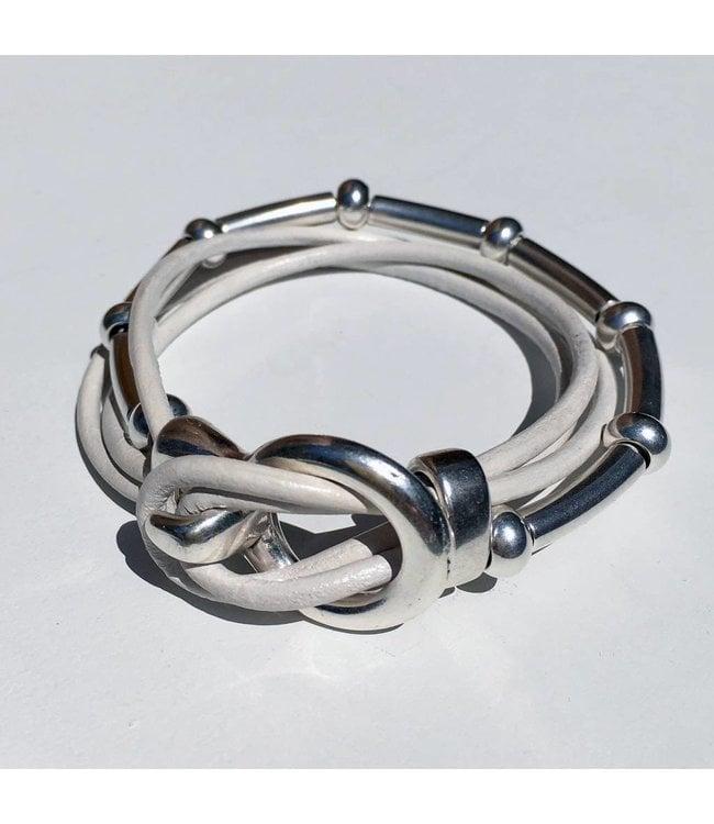 for-YOU-only Armband wit leder