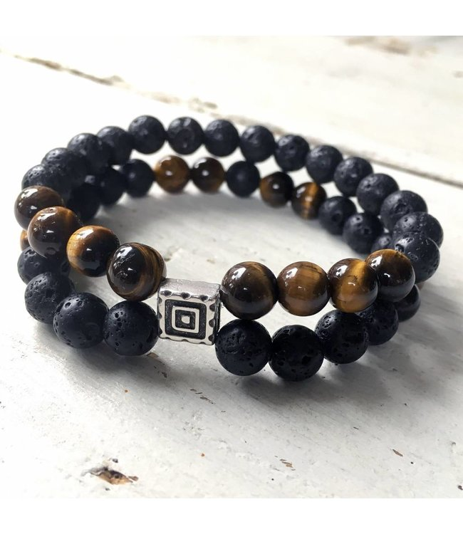 for-YOU-only Balck lava stone / Jaspis Brown Tiger Eye set