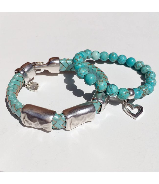 For-You-Only custom made Seafoam Green leren armbandenset met kralenarmband