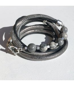 for-YOU-only Wikkelarmband Jaspis Grey