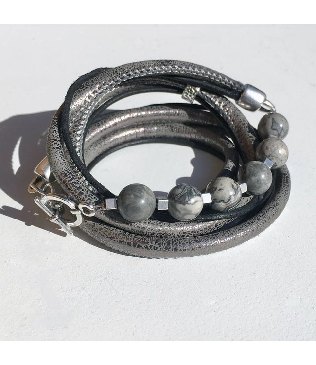 for-YOU-only Armband met Picasso Jaspis grey kralen