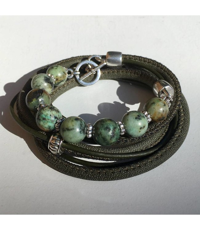 for-YOU-only Armband met Afrikaans Turquoise Green