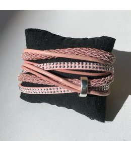 For-You-Only custom made Pink wikkelarmband