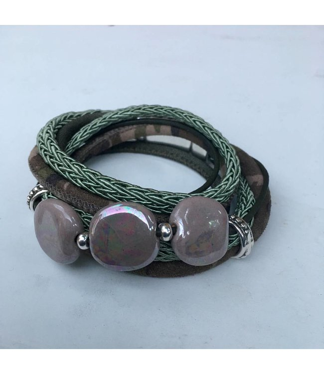 For-You-Only custom made Wikkelarmband Kazuri Green