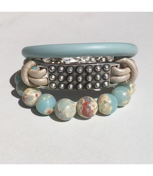 for-YOU-only Armband Dyed Blue Snake Skin Jasper